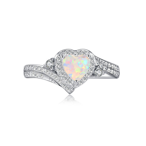 """Pure"" Opal Emerald-Cut Ring in Sterling Silver"
