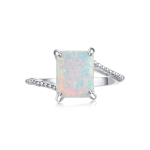 """Entwine"" Aurora Borealis Halo Round-Cut Ring in Sterling Silver"