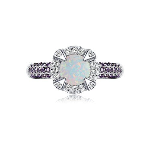 """Aglow"" Opal Halo Round-Cut Ring in Sterling Silver"