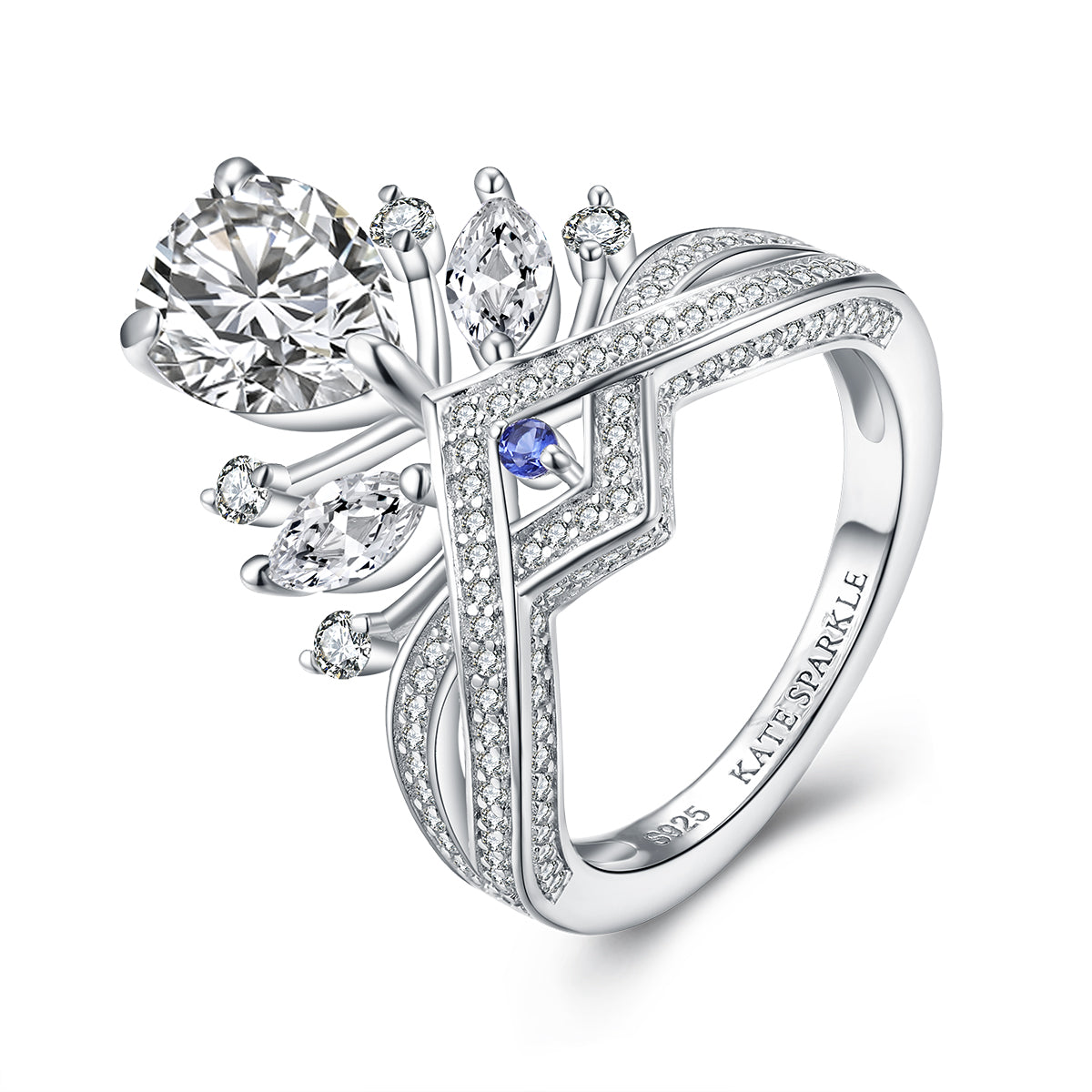 """Diana"" Princess Crown Collection Pear Ring with Blue Sapphire in Sterling Silver"