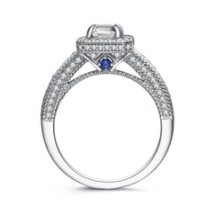 """Divine"" Classic Halo Emerald Cut Engagement Ring With Blue Sapphire Stone in Sterling Silver"