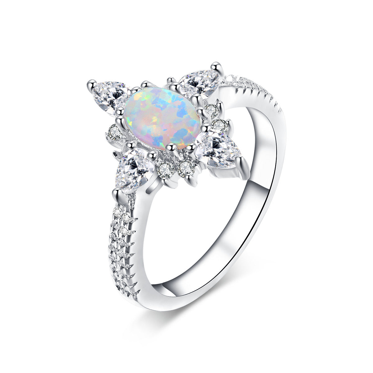 """Gaze"" Opal Oval-Cut Ring in Sterling Silver"