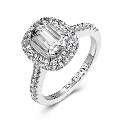 """Radiant"" Classic Double Halo Radiant-Cut Engagement Ring With Blue Sapphire Stone in Sterling Silver"