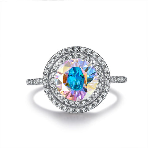 """Amour"" Opal Halo Heart-Cut Ring in Sterling Silver"
