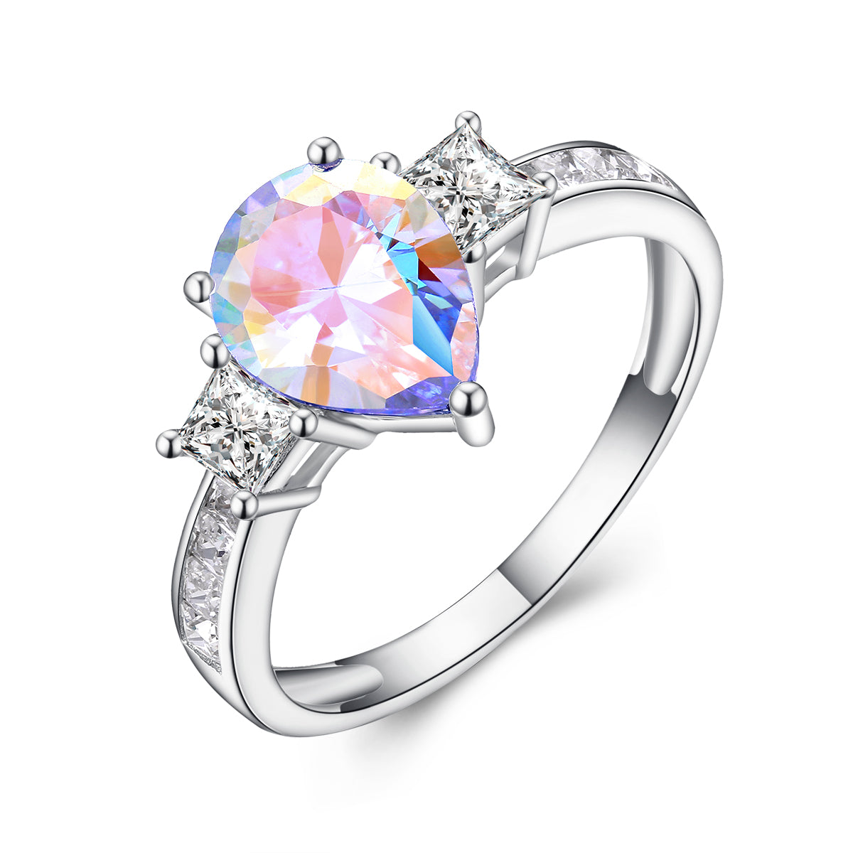 """Prism"" Aurora Borealis Three Stone Pear-Cut Ring in Sterling Silver"