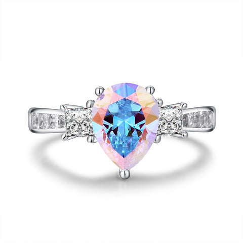 """Trifecta"" Opal Three Stone Pear-Cut Ring in Sterling Silver"