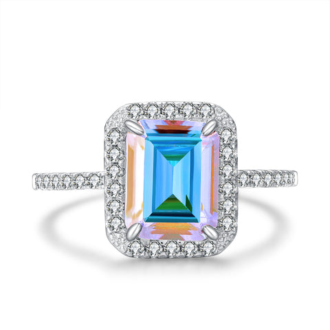"""Victoria"" Classic Three Stone Emerald Two Piece Ring Set in Sterling Silver"