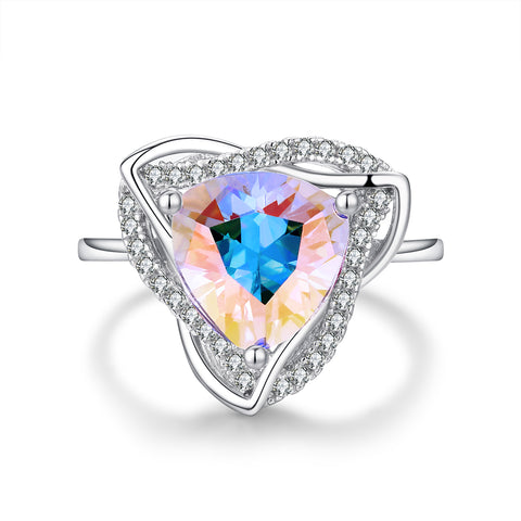 """Glisten"" Aurora Borealis Halo Emerald-Cut Ring in Sterling Silver"
