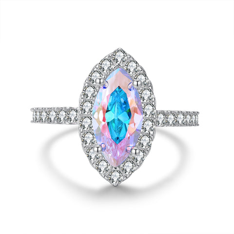 """Femme"" Aurora Borealis Princess Crown Tiara Pear-Cut Ring in Sterling Silver"