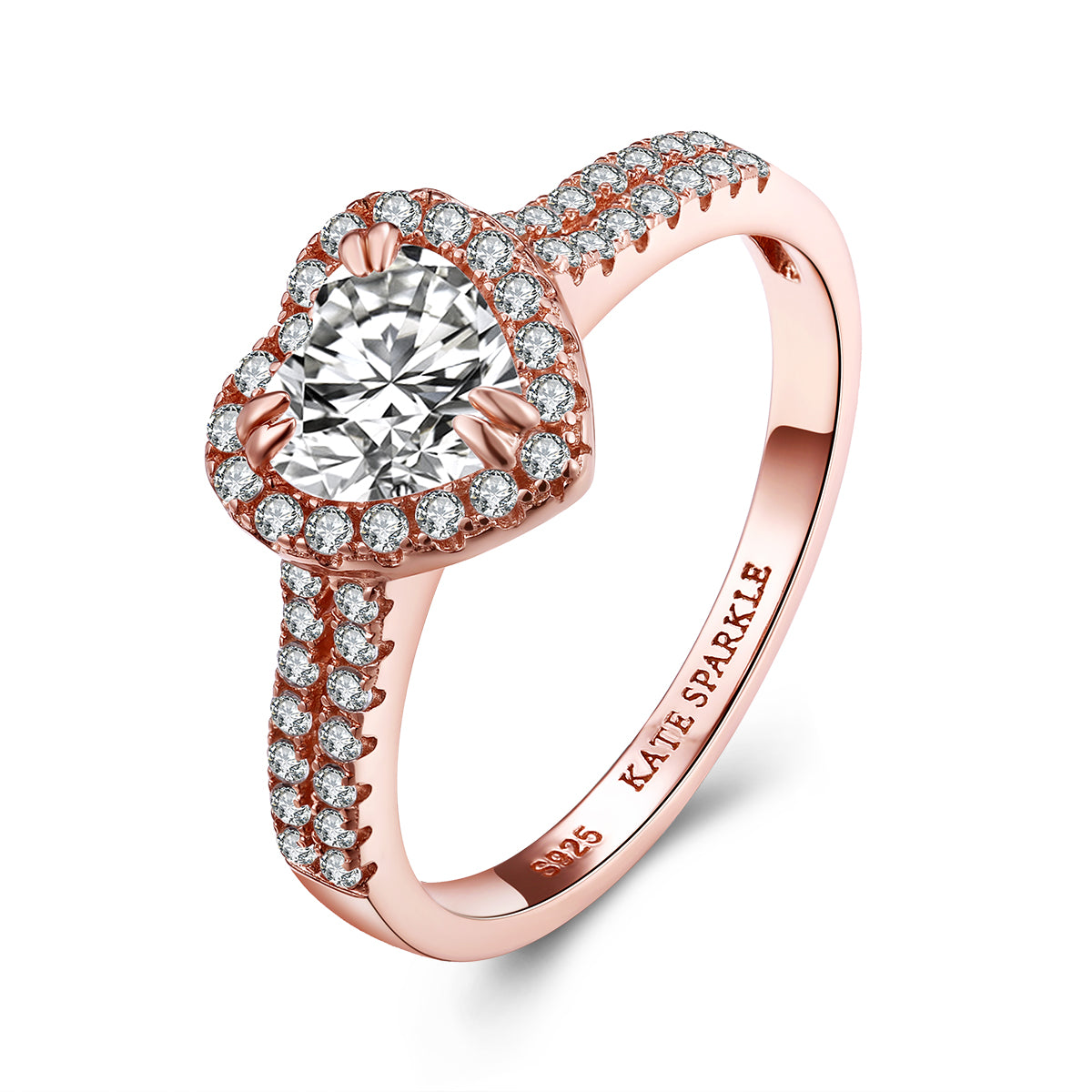 """Be Mine"" Heart-Shape Halo Sterling Silver Ring in Rose Gold"
