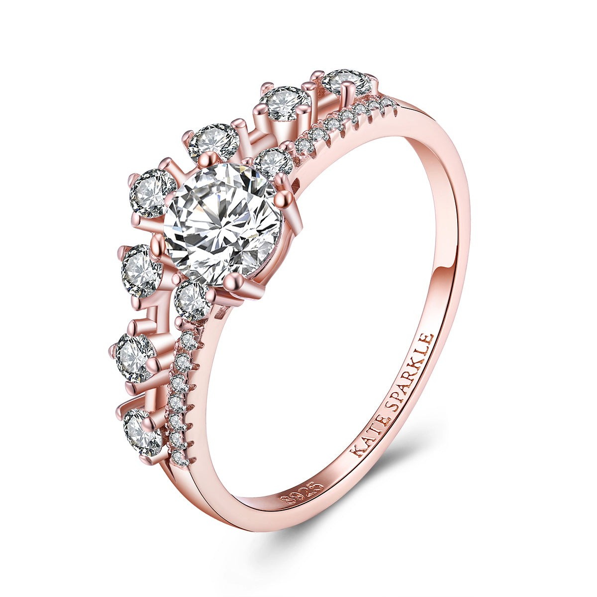 """Illume"" Round Lab Created White Sapphire Sterling Silver Ring in Rose Gold"