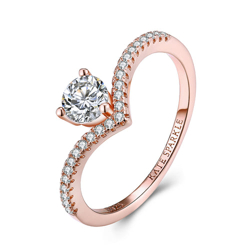 """Chic"" Round Lab Created White Sapphire Sterling Silver Ring in Rose Gold"