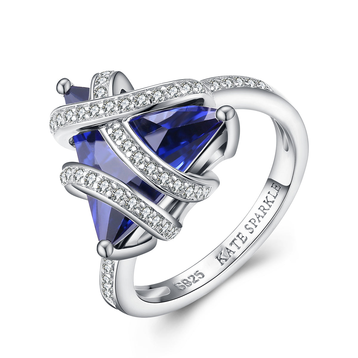 """Tricia"" Trillion-Cut Blue Sapphire Ring in Sterling Silver"