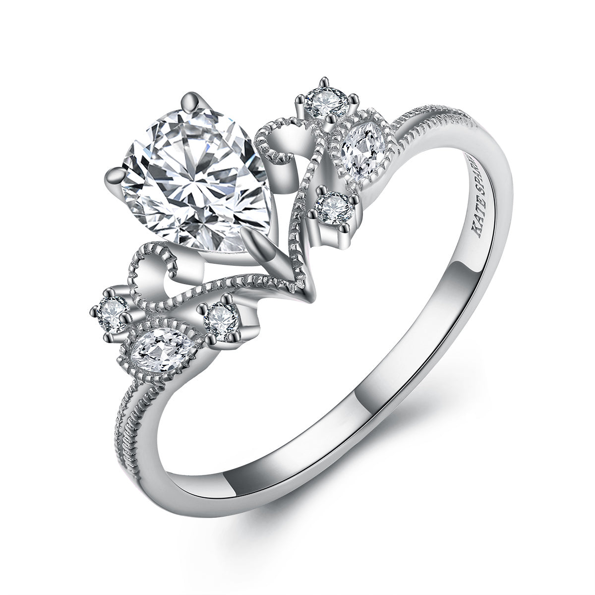 """Inspire"" Princess Crown Tiara Pear Lab Created White Sapphire Ring in Sterling Silver"