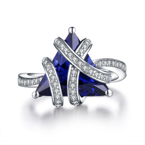 """Trio"" Three Stone Princess-Cut Engagement Ring With Blue Sapphire Stone in Sterling Silver"