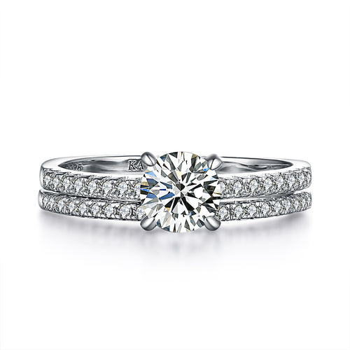 """The One"" Classic Round Ring Set in Sterling Silver"