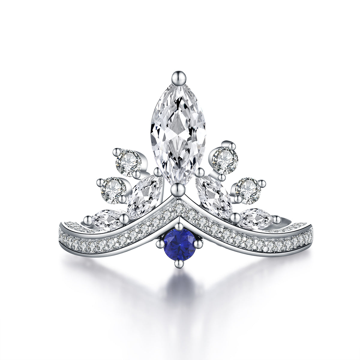 """Belove"" Princess Crown Marquise Ring With Blue Sapphire in Sterling Silver"