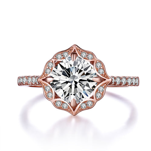 "Allure"" Cushion Rose Vintage-Inspired Sterling Silver Ring in Rose Gold"