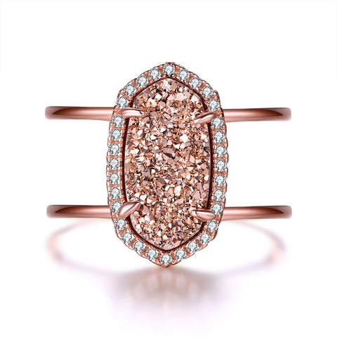 """Elora"" Three Row Pave Diamond Round Halo Ring in Sterling Silver"