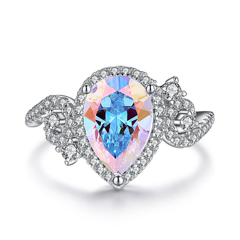 """Iris"" Aurora Borealis Halo Marquise-Cut Ring in Sterling Silver"