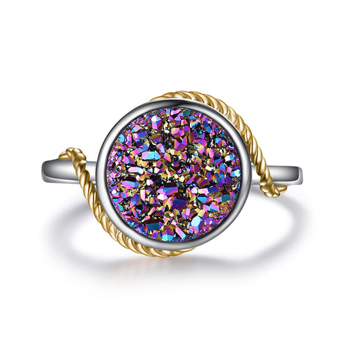 """Dreamer"" Round Natural Multi-Color Druzy Ring in Champagne Gold"