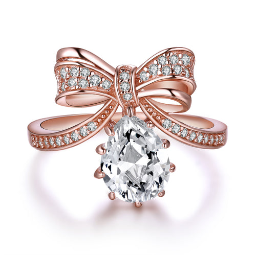 """Grace"" Bow Tiara Sterling Silver Ring in Rose Gold"
