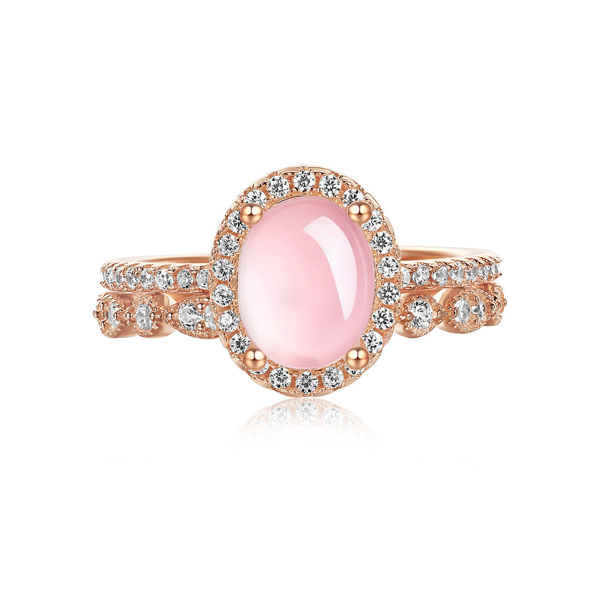 """Endear"" Natural Rose Quartz Halo Oval-Cut Sterling Silver Two-Piece Stackable Ring Set in Rose Gold"