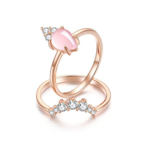 """Adore"" Natural Rose Quartz Pear-Cut Sterling Silver Two-Piece Stackable Ring Set in Rose Gold"