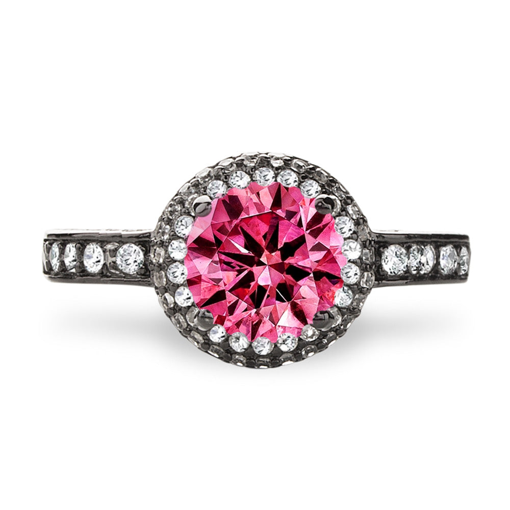 """Bold"" Round Double Halo Lab Created Pink Sapphire Sterling Silver Ring in Black Gold"