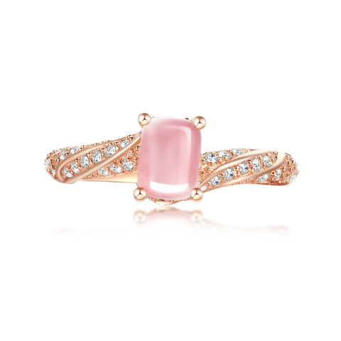 """Vienna"" Natural Rose Quartz Pear-Cut Sterling Silver Ring in Rose Gold"