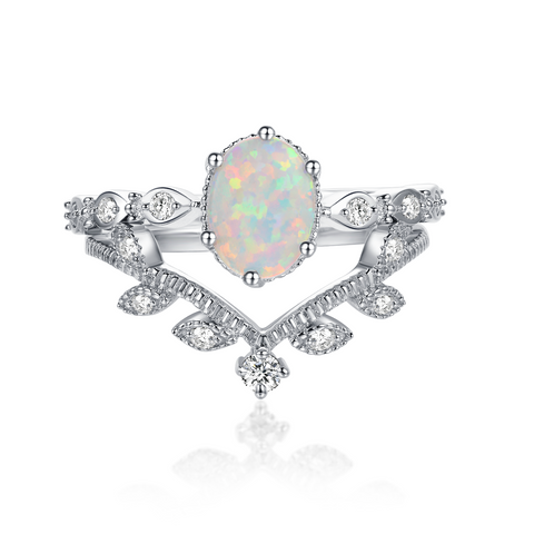"""Crystale"" Aurora Borealis Cushion-Cut Ring in Sterling Silver"