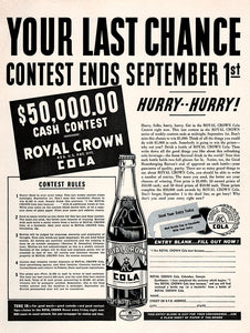 Original 1938 RC Cola Contest Ad