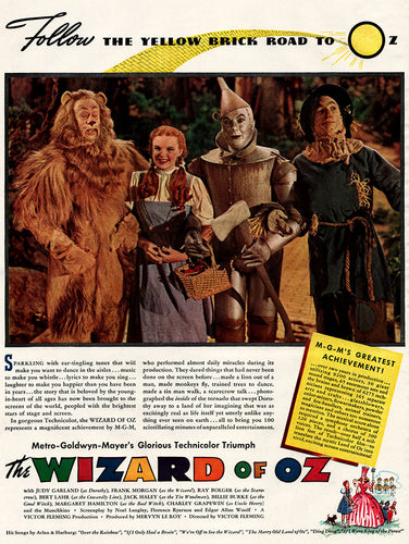 1939 The Wizard of Oz Movie Ad