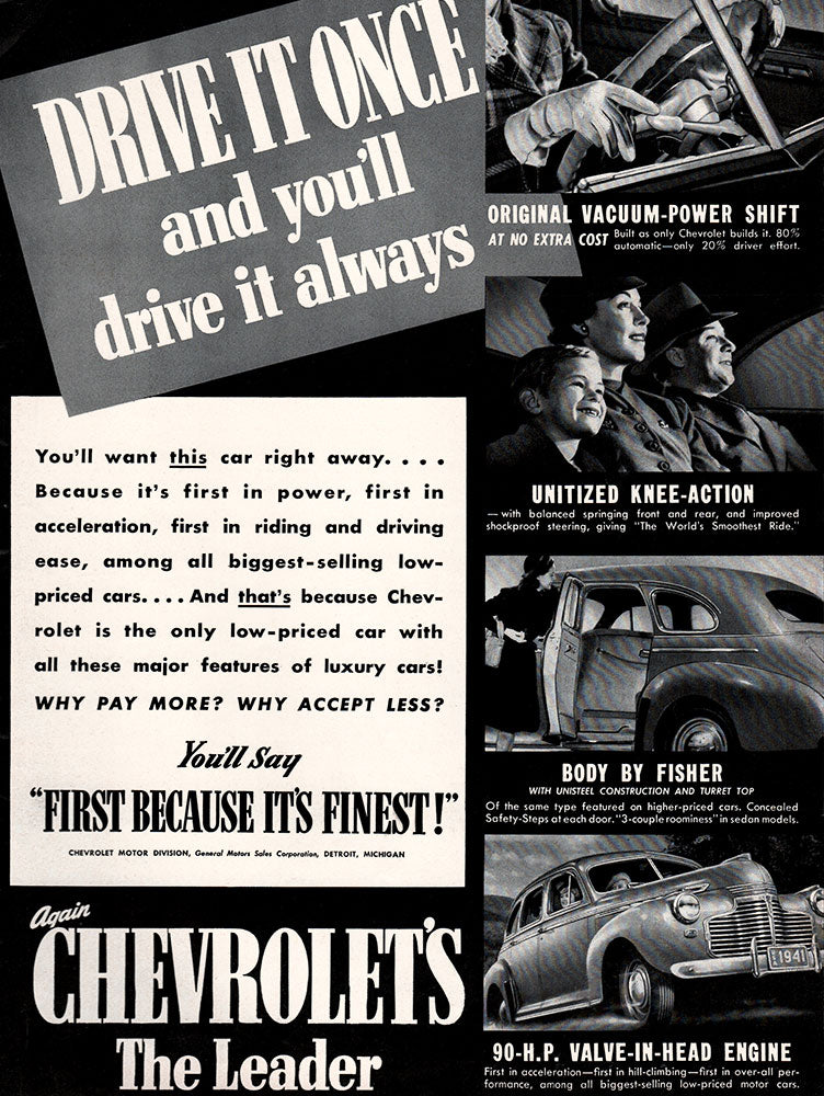 Original 1941 Chevrolet Car Ad