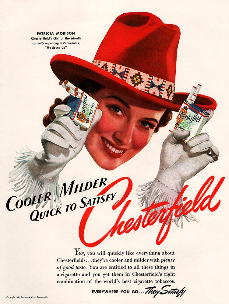 Original 1941 Chesterfield Cigarettes Ad