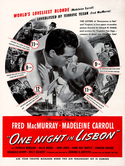 1941 One Night In Lisbon Movie Ad