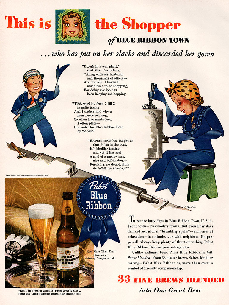 Original 1943 Pabst Blue Ribbon Beer Ad