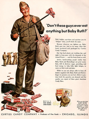 Original 1943 Baby Ruth Candy Ad
