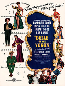 "Original 1945 ""Belle of the Yukon"" Movie Ad"