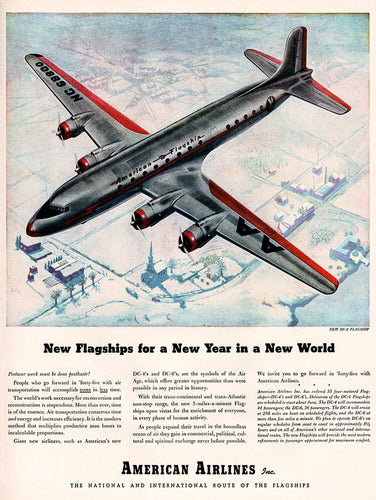 1945 American Airlines DC-4 & DC-6 Airplanes Ad