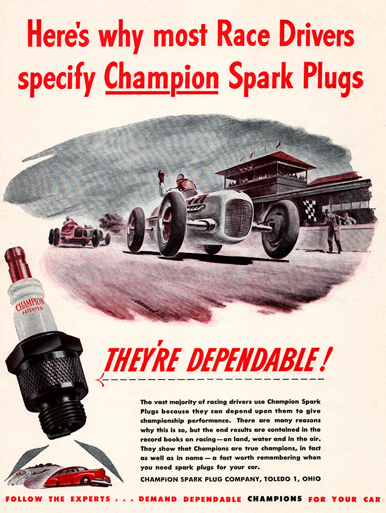 Original 1946 Champion Spark Plugs Ad