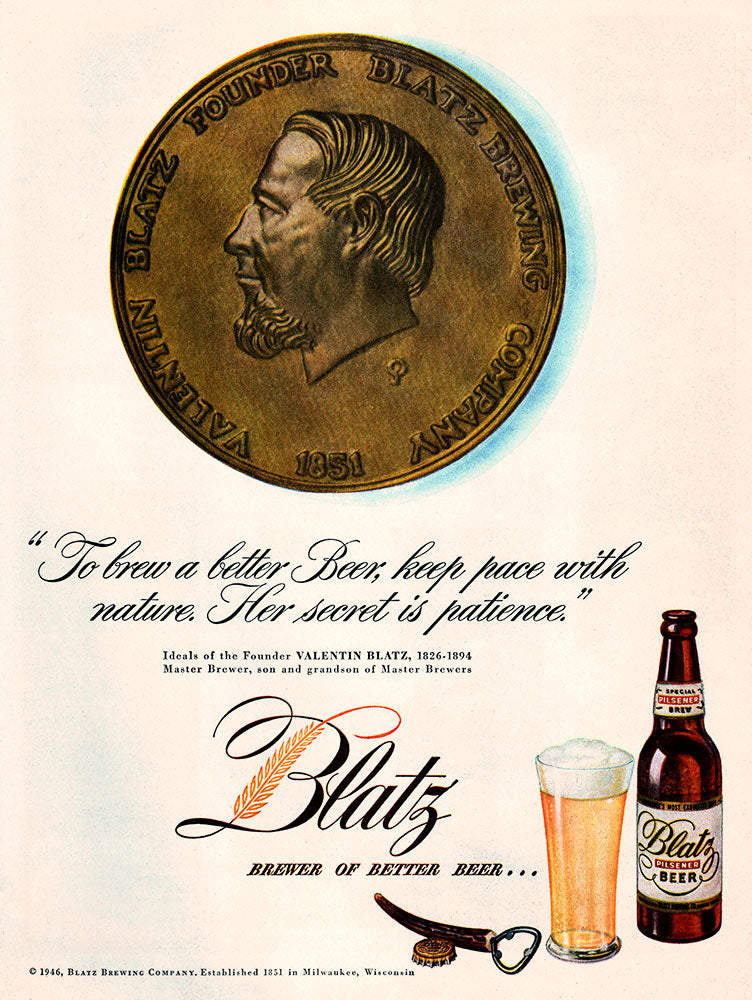 Original 1946 Blatz Beer Ad