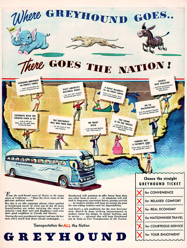 Original 1948 Greyhound Bus Ad