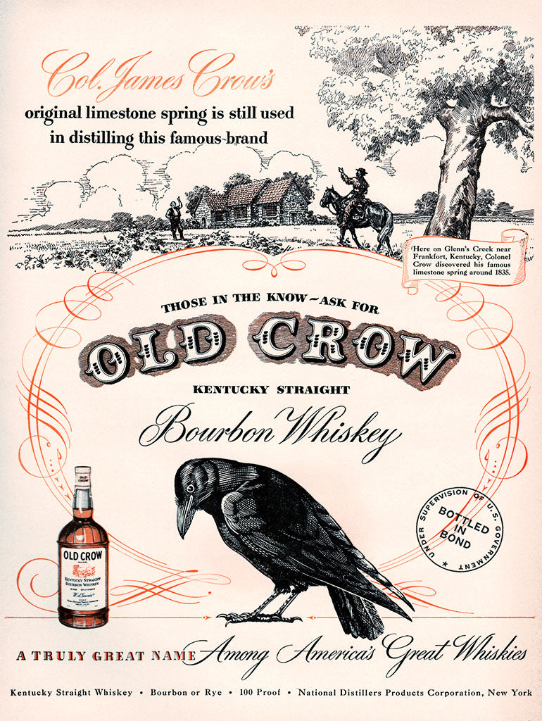 Original 1948 Old Crow Bourbon Whiskey Ad
