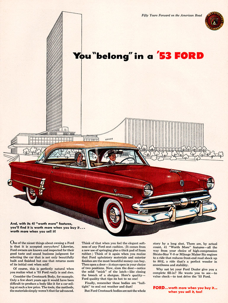 Original 1953 Ford Car Ad