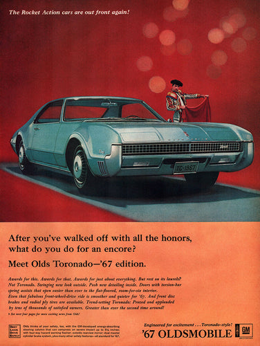 Original 1966 Oldsmobile Toronado Car Ad
