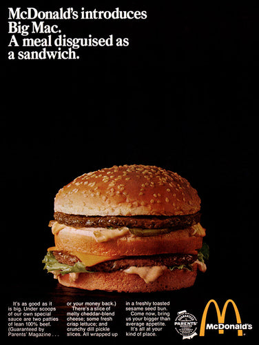 Original 1969 McDonald's Big Mac Sandwich Ad