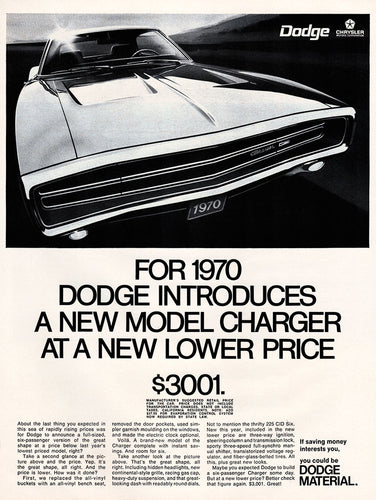 Original 1969 Dodge Charger Car Ad