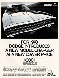 1969 Dodge Charger Car Ad