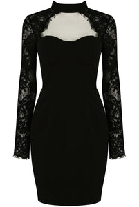 Black Crochet Sleeves Cut Out Neck Dress